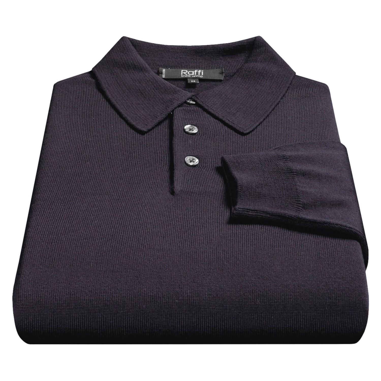 Raffi merino wool polo shirt for men 36945 save 77 for Long sleeve wool polo shirts