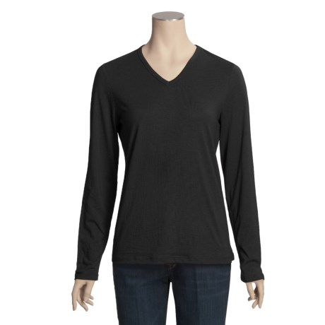 Cotton V-Neck Shirt - Long Sleeve (For Plus Size Women)