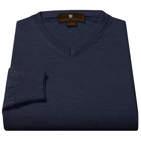 Toscano V-Neck Sweater - Merino Wool (For Men)