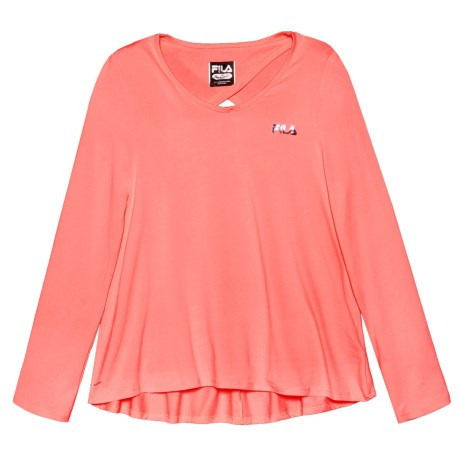 Fila Keyhole Back High-Low Shirt - Long Sleeve (For Girls)