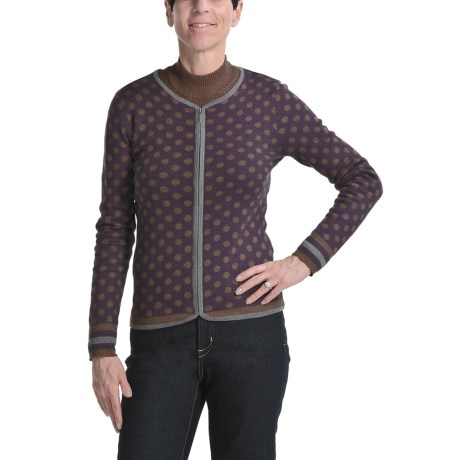 Apropos Polka-Dot Cardigan Sweater - Zip Front (For Women)