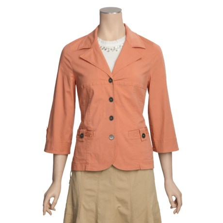 Linea Blu Notch Collar Jacket - 3/4 Sleeve (For Women)