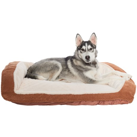 Comfortable Pet Orthopedic Foam Pineapple Velvet Bolster Dog Bed - 33x26""