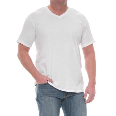 Mott and Grand Solid V-Neck T-Shirt - Short Sleeve (For Tall Men)