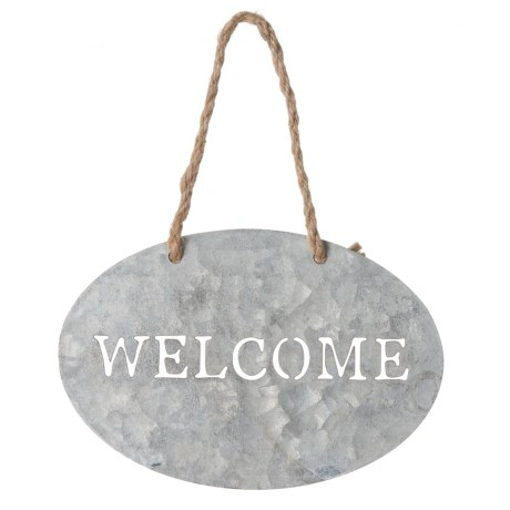 """Cheung's Rattan Oval Metal Hanging """"Welcome"""" Sign"""