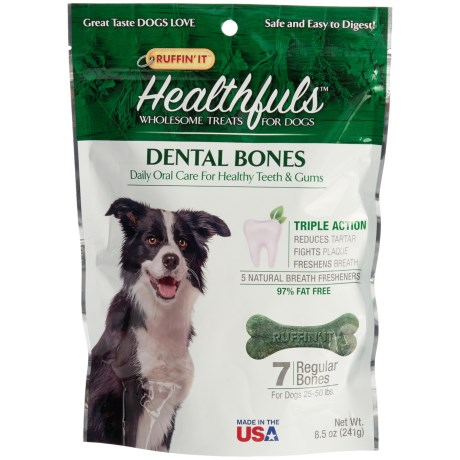 Ruffin' It Healthfuls Dental Dog Bones - Large, 7-Count