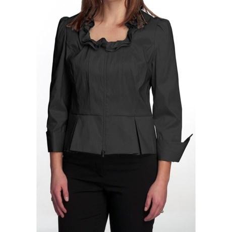 Samuel Dong Stretch Taffeta Shirt - Zip Front, 3/4 Sleeve (For Women)
