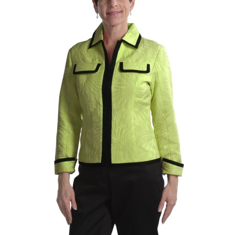 Samuel Dong Jacquard Jacket - Zip Front (For Women)