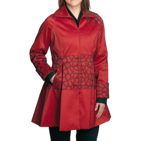 Samuel Dong Embroidered Taffeta Coat - Zip Front (For Women)