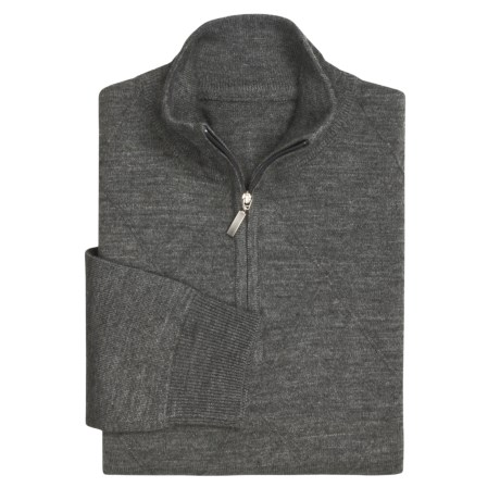 Toscano Argyle Jaquard Mock Neck Sweater - Zip Neck (For Men)