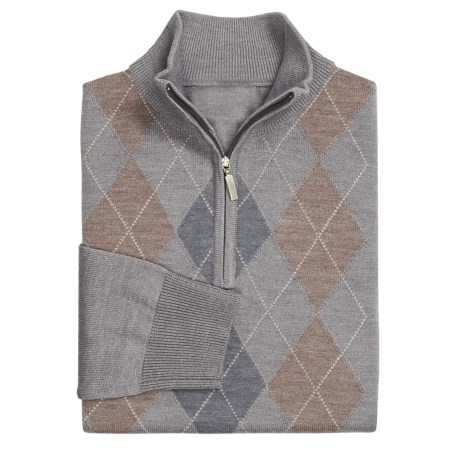 Toscano Argyle Zip Mock Sweater- Merino Wool Blend (For Men)