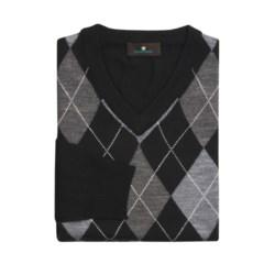 Toscano Argyle Sweater - V-Neck, Merino Wool (For Men)