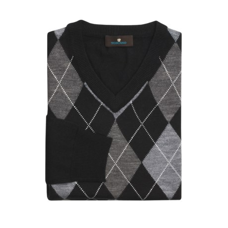 Toscano Argyle Sweater - V-Neck, Merino Wool (For Men)