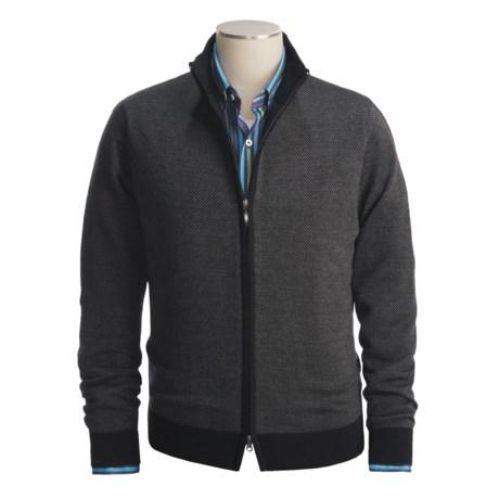 Toscano Diagonal Weave Sweater - Merino Wool-Blend, Full Zip (For Men)