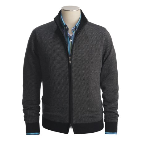 Toscano Diagonal Weave Sweater - Merino Wool-Blend, Full Zip (For Men)