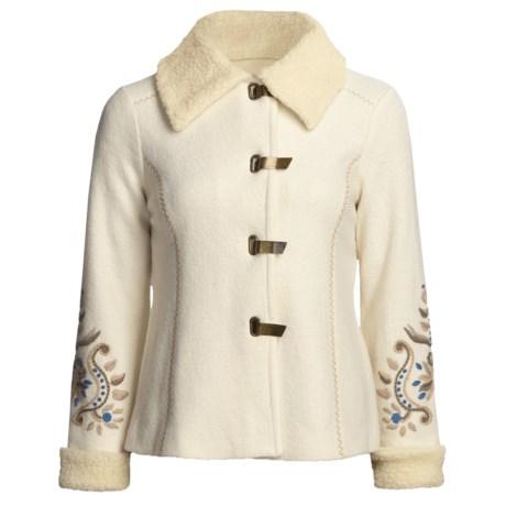 Icelandic Design Nika Boiled Wool Jacket - Cotton Shearling Trim (For Women)