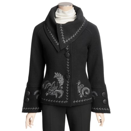 Icelandic Design Nuance Embroidered Jacket - Boiled Wool (For Women)
