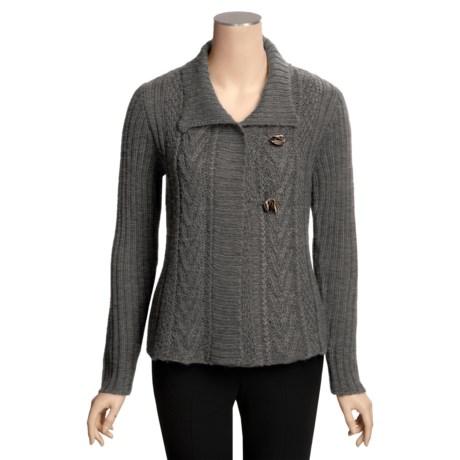 Icelandic Design Lansbury Chunky Cardigan Sweater - Hand Loomed (For Women)