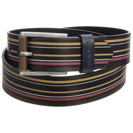 Armani Jeans Stripe Leather Belt (For Men)