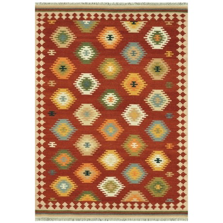 """Loloi Isara Collection Multi-Red Scatter Accent Rug - 3'6""""x5'6"""", Wool"""