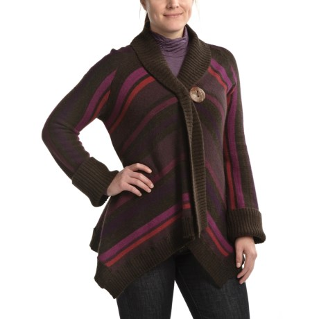 CoVelo Striped Asymmetric Cardigan Sweater (For Women)