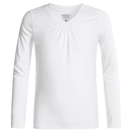 French Toast V-Neck Shirt - Long Sleeve (For Big Girls)