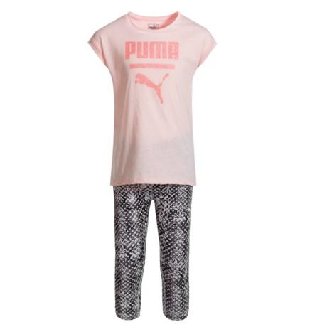 Puma Cat Logo T-Shirt and Capris Set - Short Sleeve (For Little Girls)