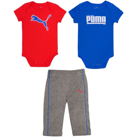 Puma Cat Logo Baby Bodysuits and Pants Set - 3-Piece Set, Short Sleeve (For Infant Boys)
