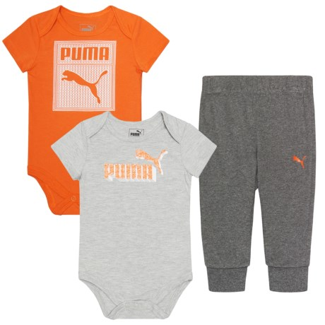 Puma Logo Bodysuits and Joggers Set - 3-Piece, Short Sleeve (For Infant Boys)