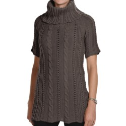 Peregrine by J.G. Glover Fancy Cable Sweater - Merino Wool, Cowl Neck, Short Sleeve (For Women)