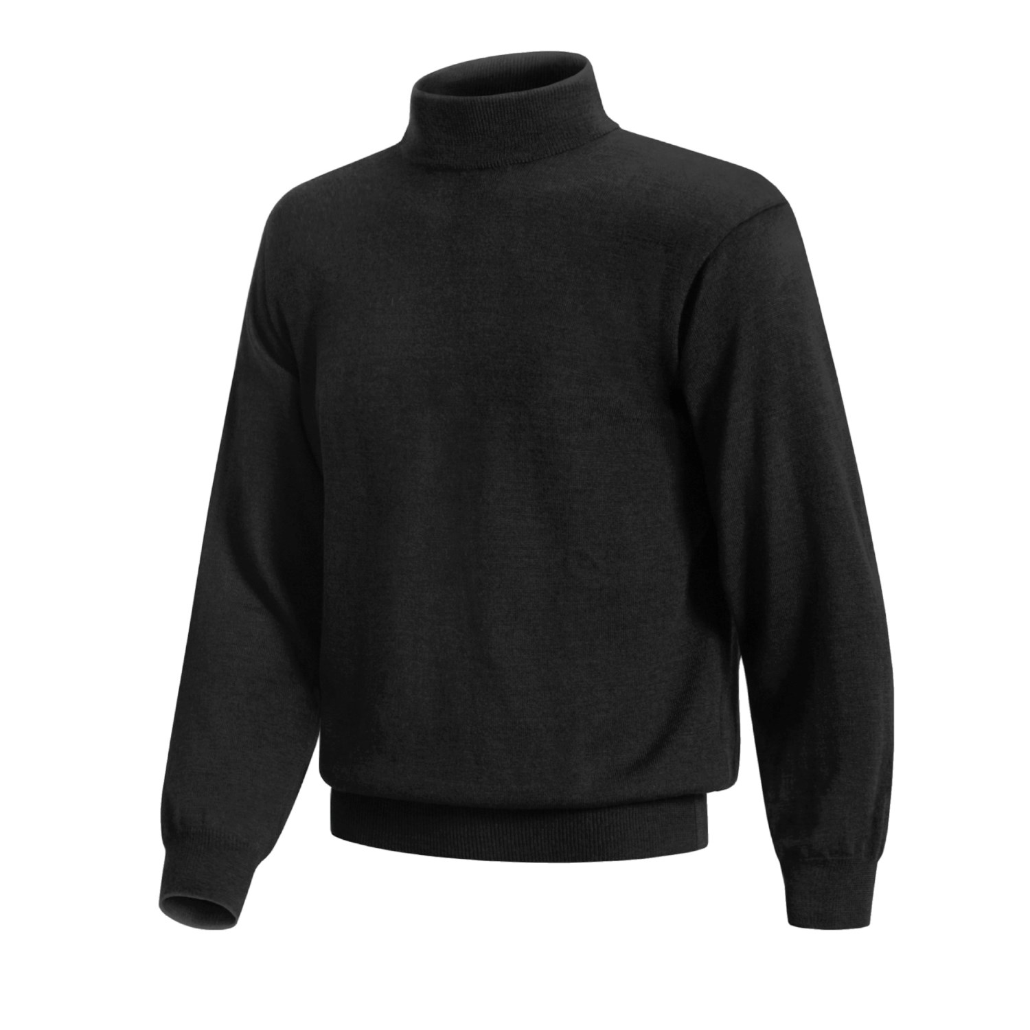 Charcoal gray long-sleeve mock turtleneck sweater with short zipper, contrasting color inside collar, and ribbed bands at hem, cuffs, and collar.