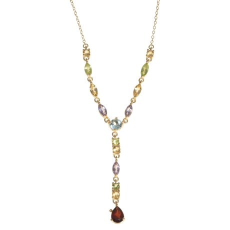 Prime Art Dangle Gemstone Necklace - 18K Gold-Plated Sterling Silver