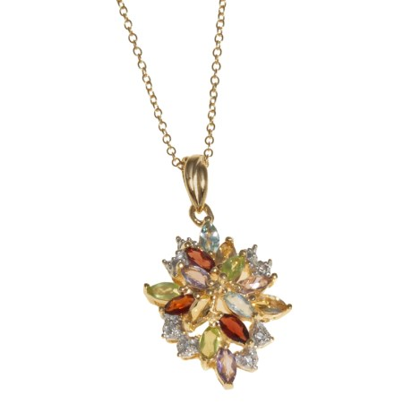 Prime Art Gemstone Pendant Necklace - 18K Gold-Plated Sterling Silver