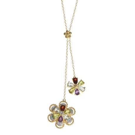 Prime Art Posy Gemstone Necklace - 18K Gold-Plated Sterling Silver