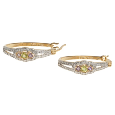 Prime Art Amethyst and Peridot Earrings - 18K Gold-Plated Sterling Silver