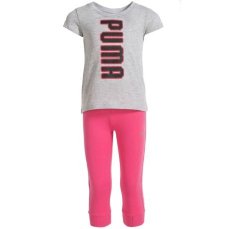 Puma Logo T-Shirt and Pant Joggers Set - Short Sleeve (For Toddler Girls)