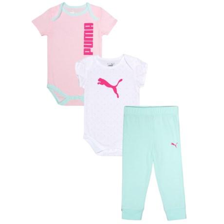 Puma Logo Bodysuits and Joggers Set - 3-Piece, Short Sleeve (For Infant Girls)