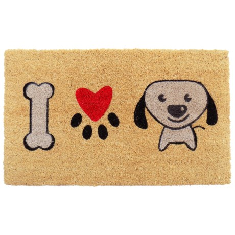 "Imports Décor I Love Puppy Coir Doormat - 18x30"""