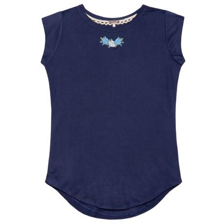 Poof Embroidered Flutter Sleeve Shirt - Short Sleeve (For Girls)