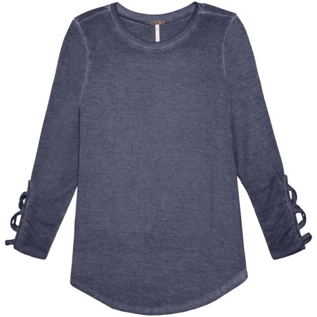Poof Lattice Wrist Mineral Wash Shirt - Long Sleeve (For Girls)