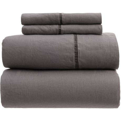 Melange Home Linen Ladder Hem Sheet Set - Queen