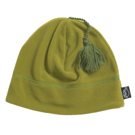 Turtle Fur Tassel Fleece Beanie Hat - Micro Fur Fleece (For Women)