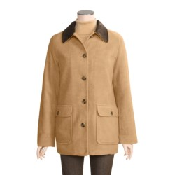 Washable Wool Barn Coat with Microsuede Collar (For Women)