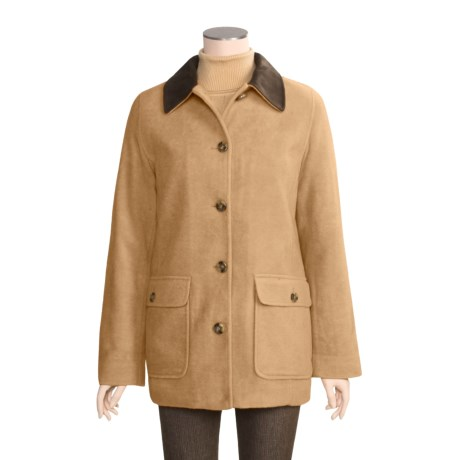 Specially made Washable Wool Barn Coat with Microsuede Collar (For Women)