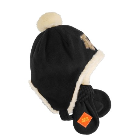 Jacob Ash Puffin Down Fuzzy Wuzzy Fleece Hat and Mitten Set (For Infants)