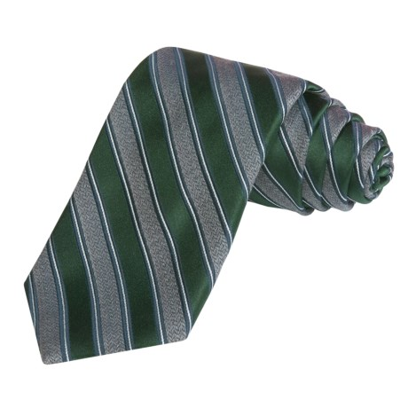 Altea Wide Stripe Tie - Silk-Wool (For Men)