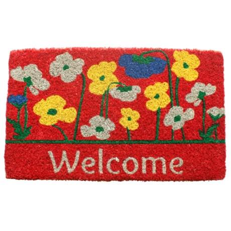"""Entryways Poppies Welcome Coir Doormat - 18x30"""""""