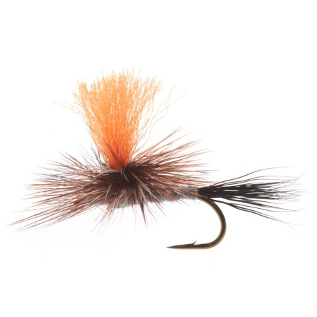 Black's Flies Hi Vis Orange Post Parachute Adam's Moosetail Dry Fly - Dozen