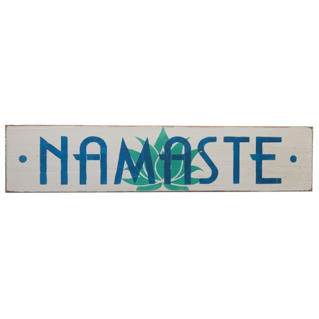 "Seven Anchor Designs ""Namaste"" Lotus Flower Wooden Sign - 10x44"""