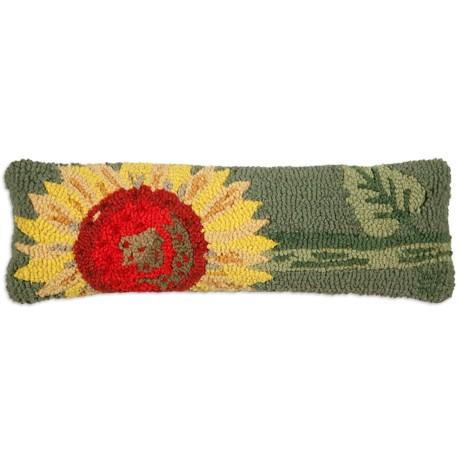 "Chandler 4 Corners Single Sunflower Hand-Hooked Wool Pillow - 8x24"""